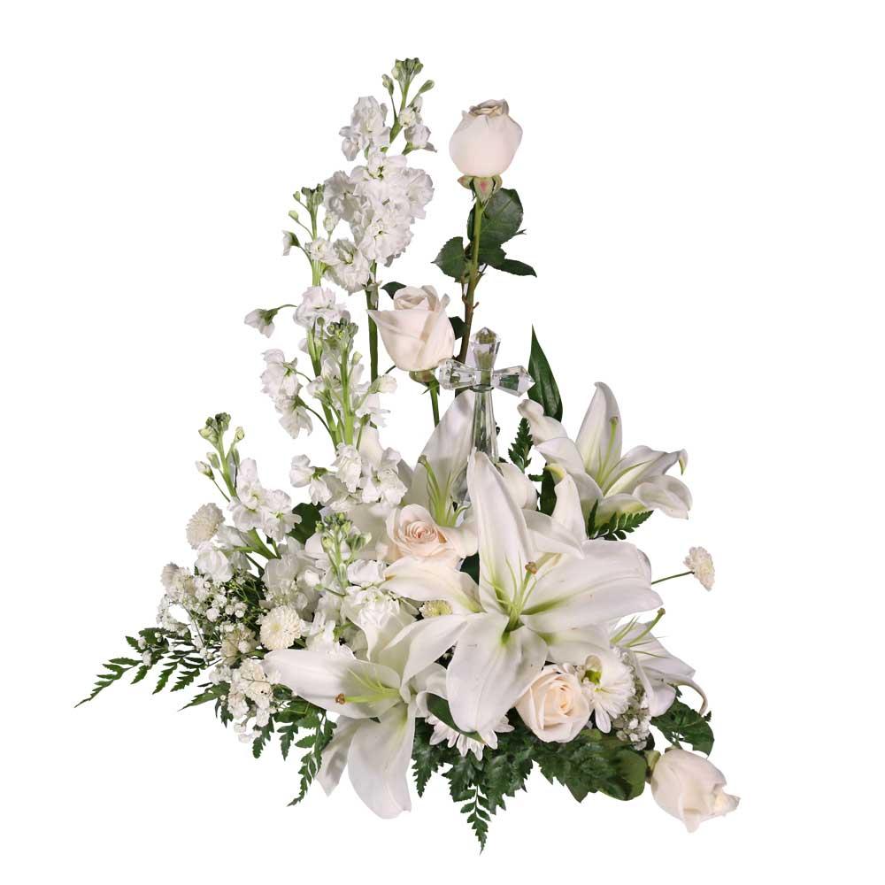 Small crystal cross floral arrangement san jose funeral home small crystal cross floral arrangement izmirmasajfo